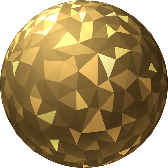 Golden ball with geometric pattern.
